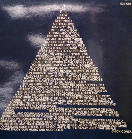 A prose poem by Chick Corea covers the back of the record sleeve.