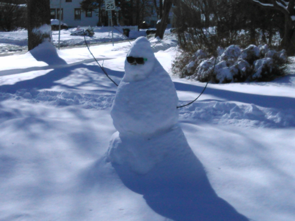 A snowman on North Atherton Street in State College, PA.