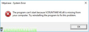 Wamp error missing VCRUNTIME140.dll