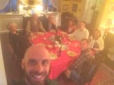 A blurry photo of myself with Harriet and her friends and family.