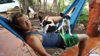 20. La Gloria - Brendan and dogs in hammock