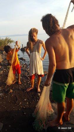 22. Ometepe Lake - Brendan and David learning to fish