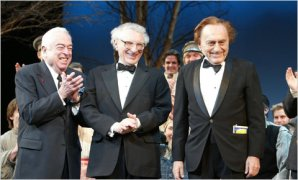 From left, Jerry Bock, Sheldon Harnick, Joseph Stein in 2004