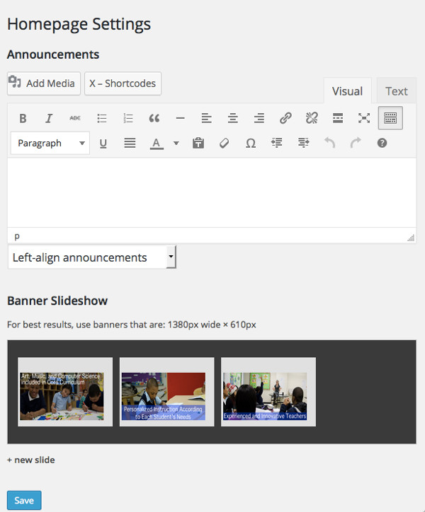 SBECAC homepage admin
