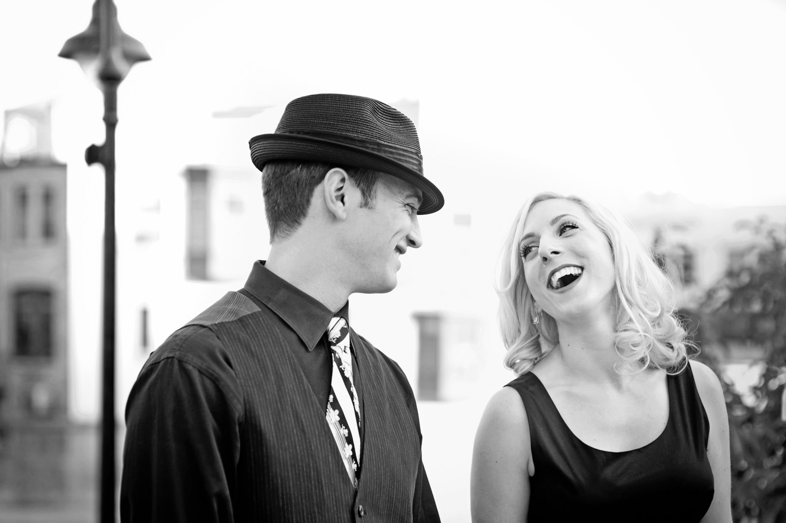 Black and white engagement photo of classic 1950s style picture