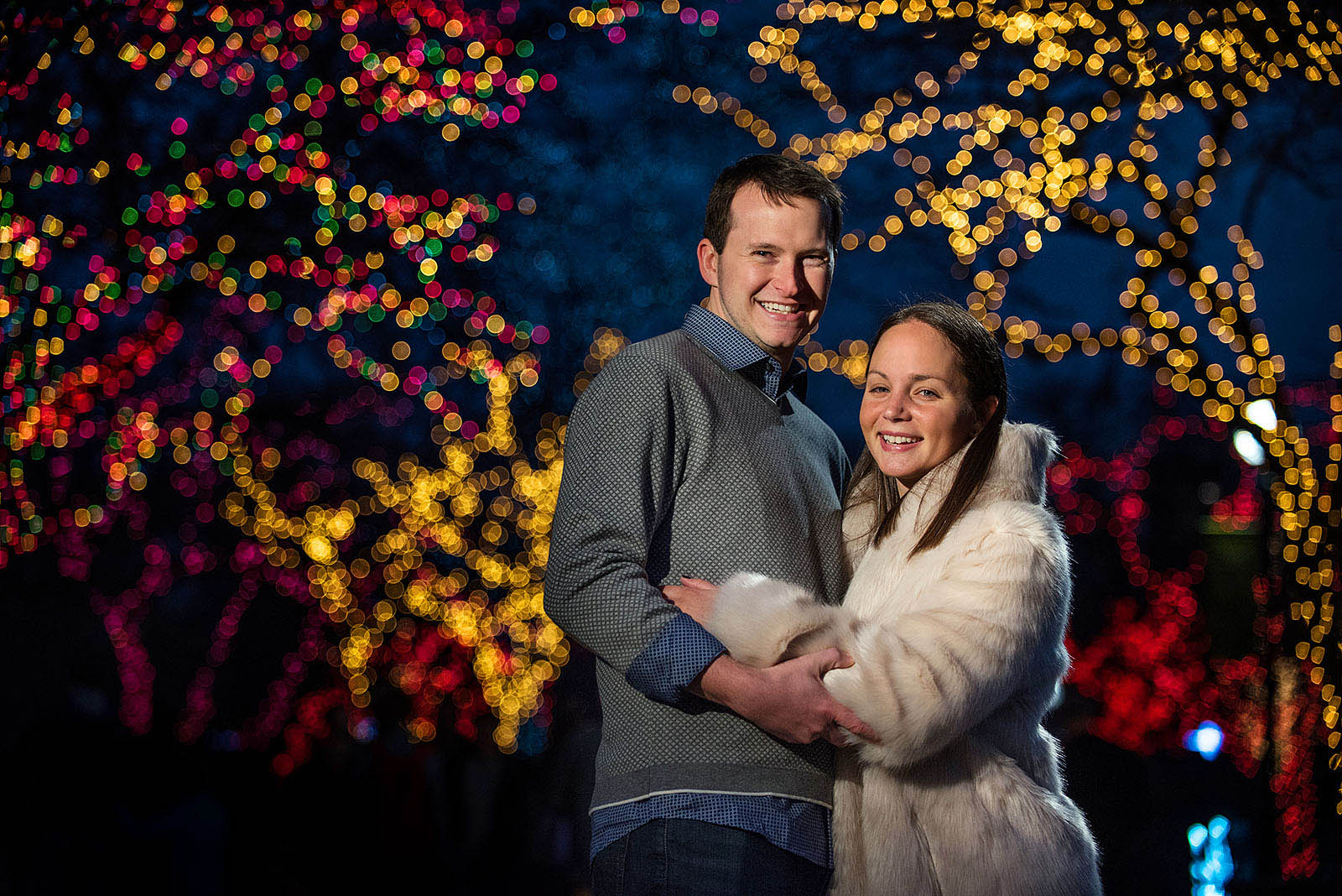 Zoo Lights Lincoln Park Engagement Session