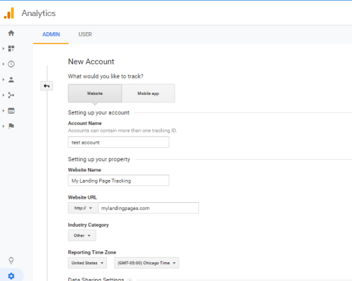 Google Analytics Creating Account Expanded