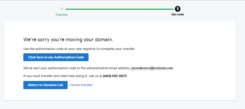 Transfer code GoDaddy