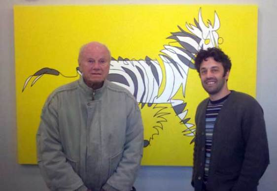 James Rosenquist in Front of Stripey Horse with Jason Oliva during a studio visit.