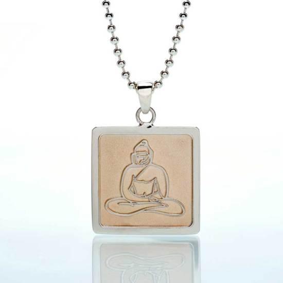 'Buddha' Sterling Silver 'Frame' Rose Rhodium Tint