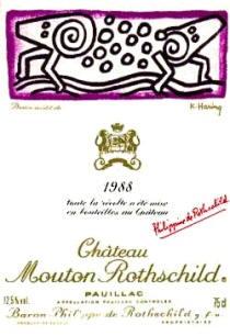 WIne-Jason-Oliva-Keith-Haring-Chateau-Mouton-Rothschild -Artist-wine-label-1988