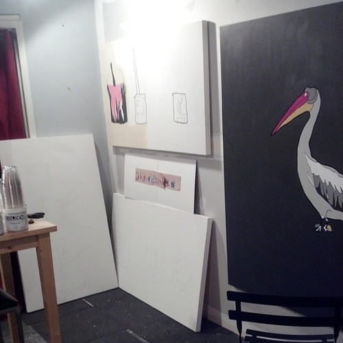 Pelican painting and Jackson Pollock study Jason Oliva