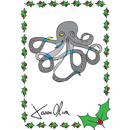Octopus Holiday Card by Jason Oliva