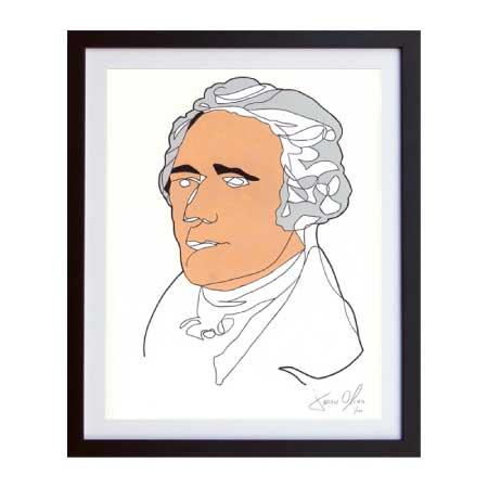 Alexander Hamilton framed work on paper by Artist Jason Oliva