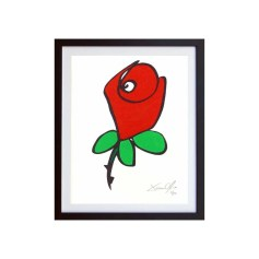 Rose Color Small Hand Painted Work on Paper by Jason Oliva Edition of 100
