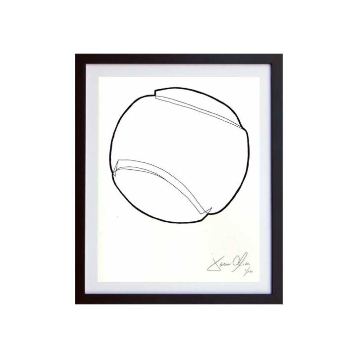 Tennis Ball (White) Framed Small Work on Paper by Jason Oliva
