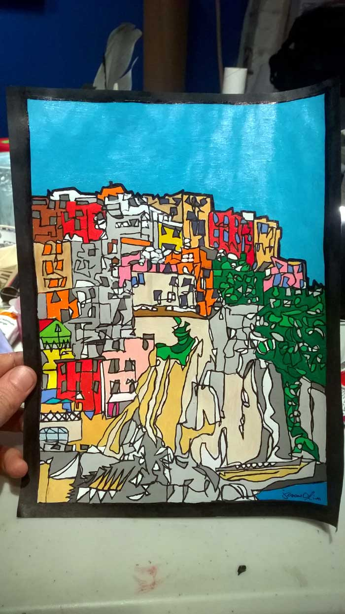 Cinque Terre paper study by Jason Oliva