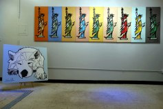 Lumi Dog Portrait painting alongside Art History 2009 painting by Jason Oliva in his studio