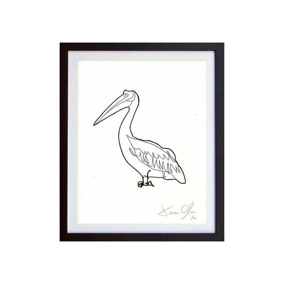 Pelican-White-Small-work-on paper by jason oliva