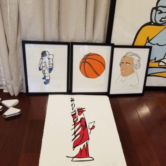 Jason Oliva Astronaut, Basketball, Alexander Hamilton, Buddha and Red Statue of Liberty works on paper