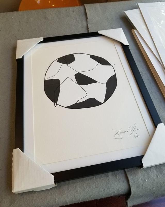 Jason Oliva Soccer Framed small work on paper edition of 100