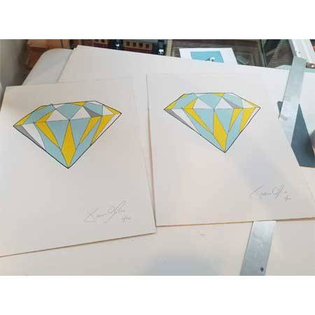 Diamond Color Small works on paper by Jason Oliva ready for matting and framing