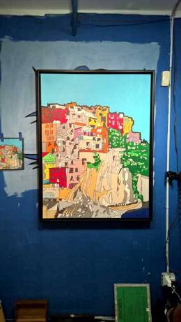 Cinque Terre Italy commissioned painting by Jason Oliva on display in his studio