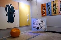 Great Coat, Artemis, Lumi Dog Portrait and Art History Paintings on display in Jason Oliva's Studio