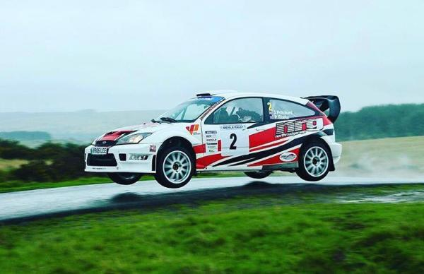 Jason Pritchard in his Ford Focus WRC Rally car