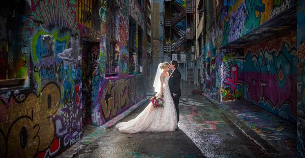 Bride and Groom at Grafitti Lane Melbourne Docklands