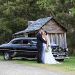 Bride and Groom with bridal car in Yackandandah victoria