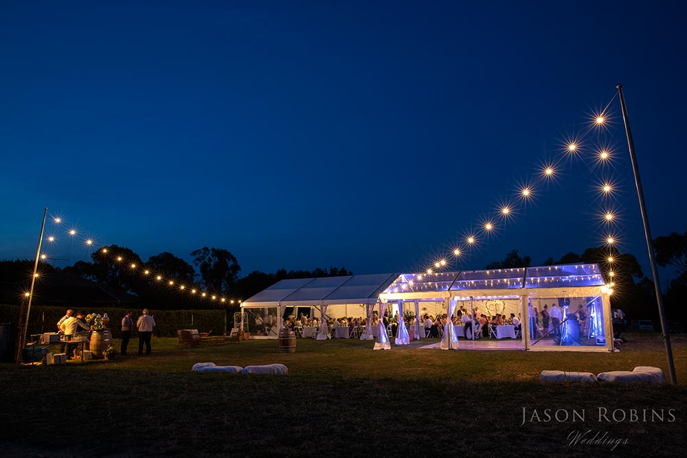 Outdoor Wedding reception styling at night