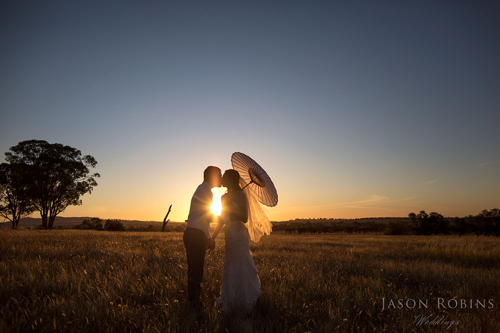 Sunset Wedding Image of Bride and Groom at Orange Grove Gardens in Culcairn Australia