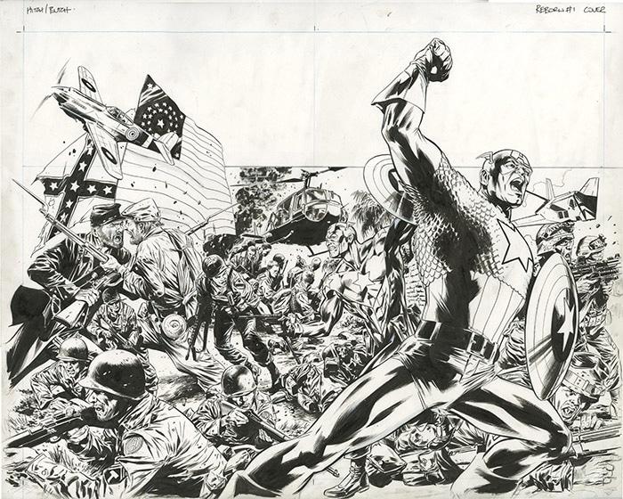 Bryan Hitch captain america splash page