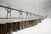 A snowy day at Lake Michigan.