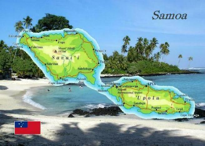 Samoa-Country-Map-New-Postcard
