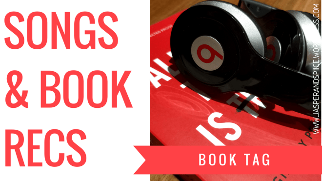 songs and books tag 2018 blog header - Book Recomendations from my Top 6 Album Picks!