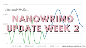 NaNoWriMo Week 2 Writing Update 2019 Header 300x169 - Week 3 NaNoWriMo Update & Changes I've Made To My Tracker