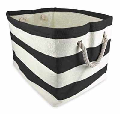 The Best Playroom Decor Finds On Amazon - black and white stripe basket