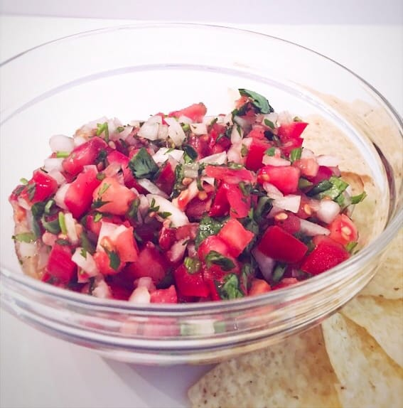 easy pico de gallo recipe in bowl with chips