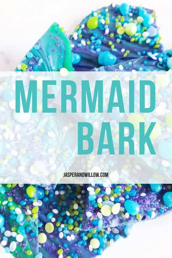 This Mermaid Bark recipe will make the perfect quick and easy dessert for a child's birthday party! Cute and colorful to match your little mermaid's personality! #mermaid #kidfriendly #birthday #partyrecipe