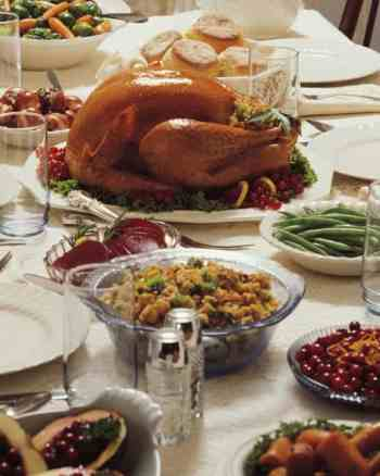 thanksgiving side dish recipes on table with turkey