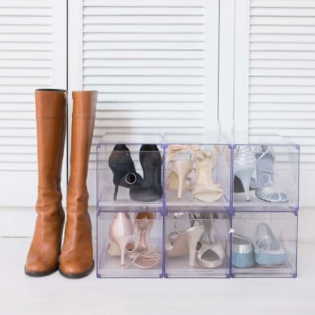 how to declutter clothes with organized shoes