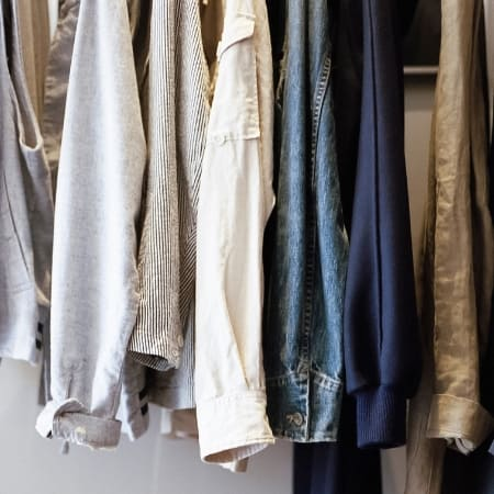 how to declutter clothes with organized clothes