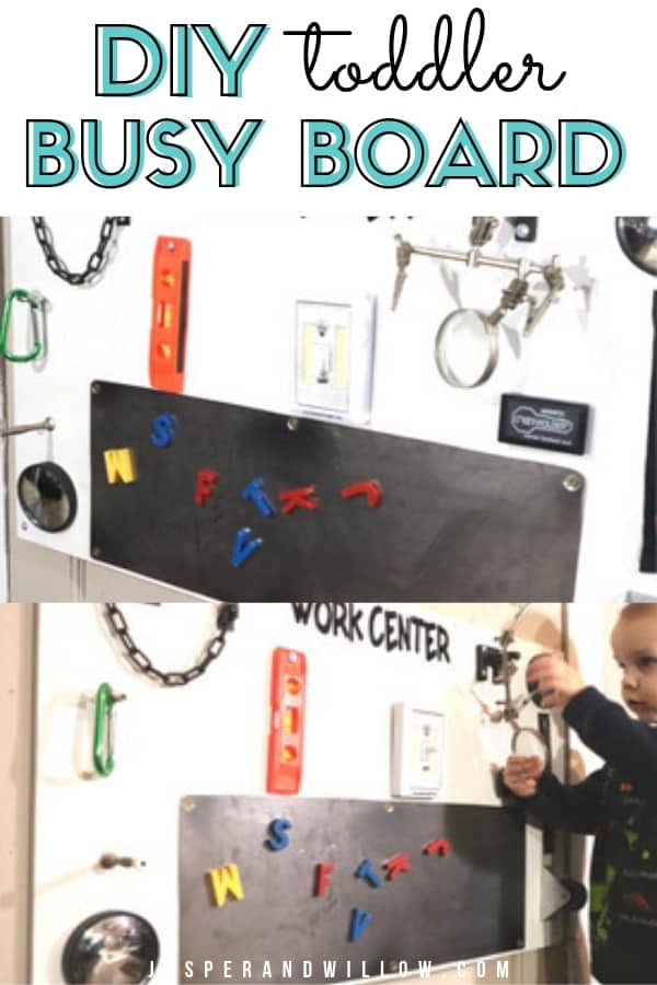 DIY toddler busy board with toddler playing