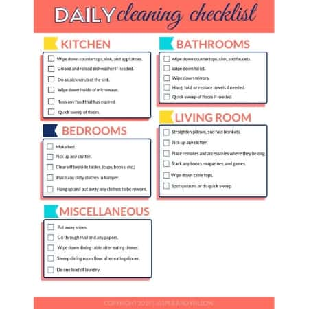Daily Cleaning Checklist - FREE Printable PDF