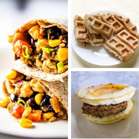 make ahead freezer meal recipes for breakfast with burritos, waffles, and eggs