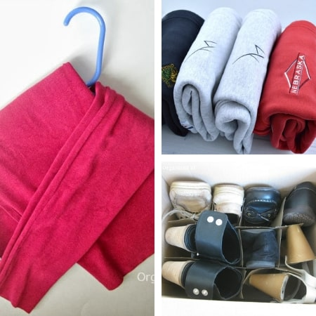 diy closet organization ideas on a budget with hanging sweater, folded shirts, and shoe storage