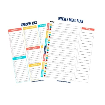 weekly meal plan and grocery list free printable
