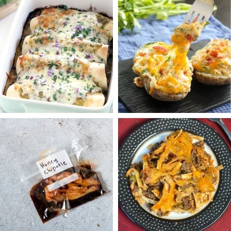 homemade freezer meals with enchiladas, chicken, hamburger casserole, and twice baked potatoes